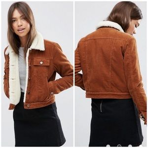 ASOS Cord Cropped Jacket With Borg In Rust Sz 0